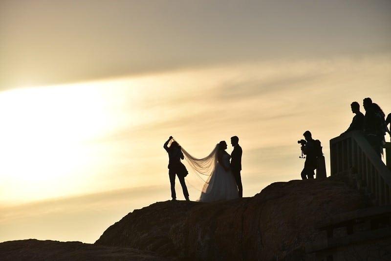 silhouette people wedding