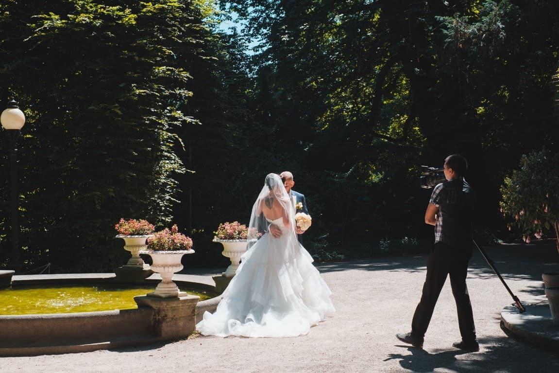 daytime wedding couple