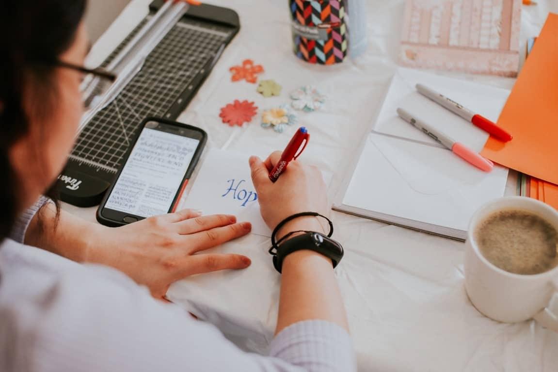 woman writing message