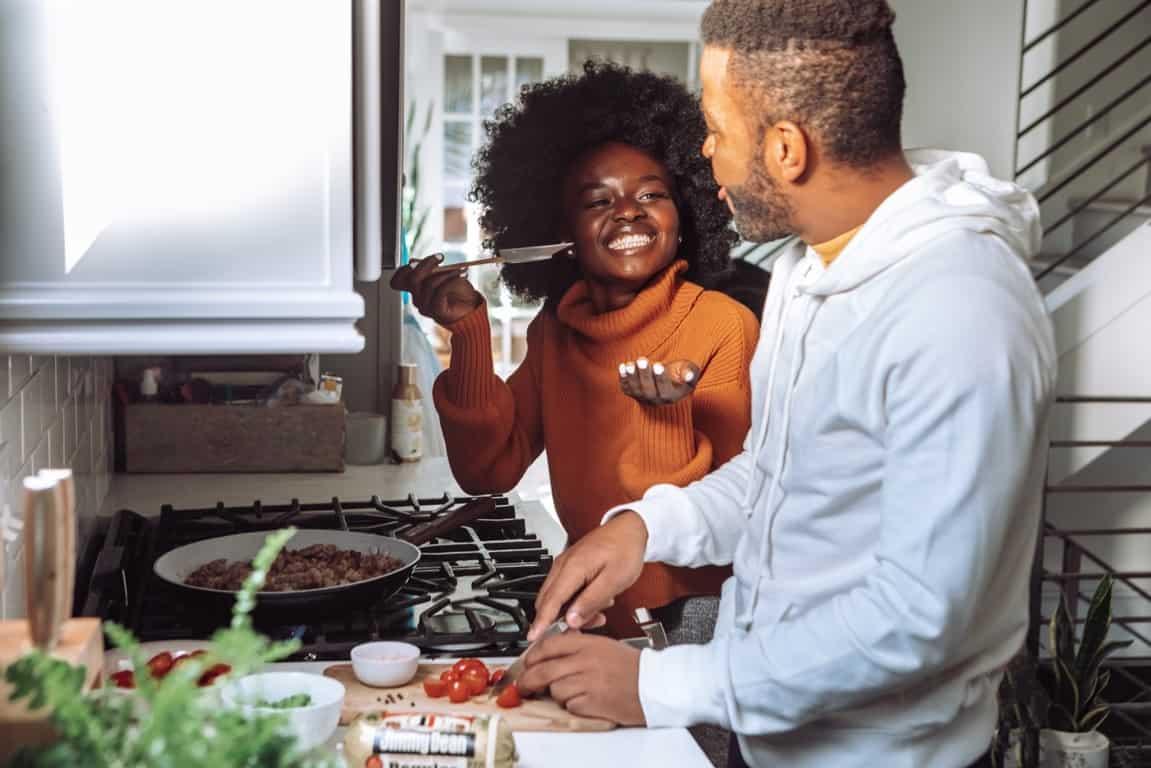 sweet couple kitchen