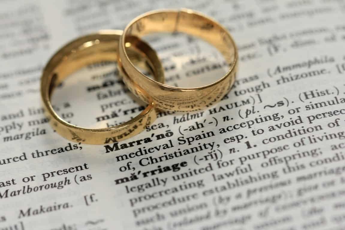 wedding rings on paper