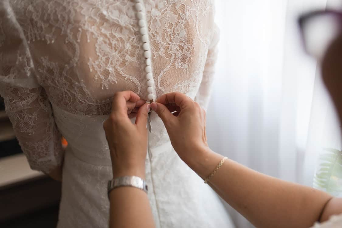 fitting wedding gown