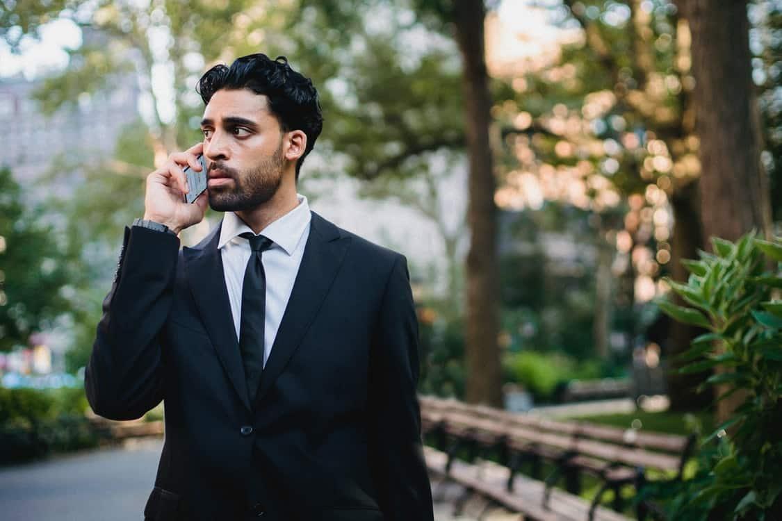 using phone man