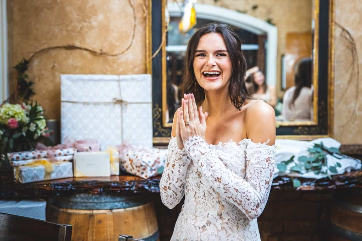 woman in bridal shower