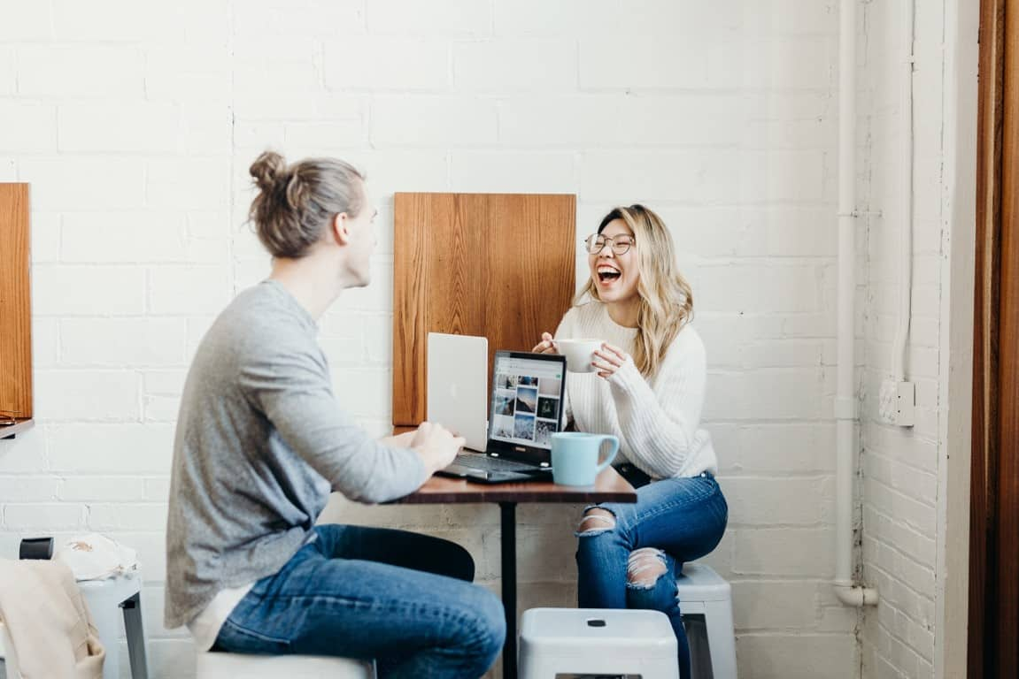 man woman laughing